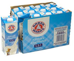 Bärenmarke Haltbare Alpenmilch 1,5% Fett Karton 12 x 1 l Tetra-Pack