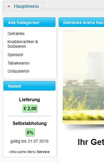 Prominente Anzeige des Serviceart-Rabatt auf der Hauptseite.
