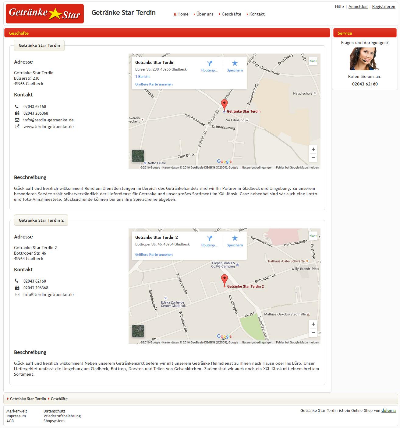 Shopseite mit Auflistung mehrerer Geschäfte (Standorte, Filialen, Shops) des Betriebes oder der Kette.